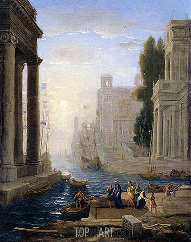 Embarkation of St Paula, a.1642 | Claude Lorrain | Painting Reproduction