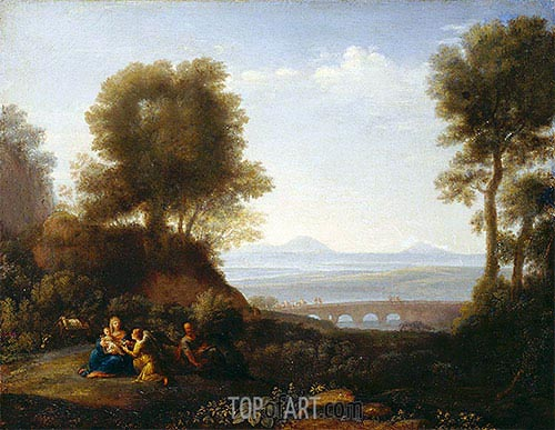 Rest on the Flight into Egypt, a.1676 | Claude Lorrain | Gemälde Reproduktion