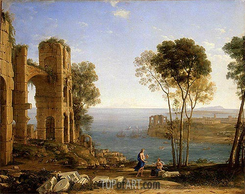 Coast View with Apollo and the Cumaean Sibyl, c.1645/49 | Claude Lorrain| Painting Reproduction