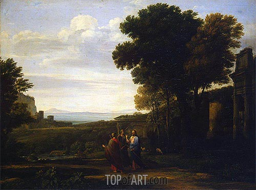 Landscape with Christ on the Road to Emmaus, 1660 | Claude Lorrain| Painting Reproduction