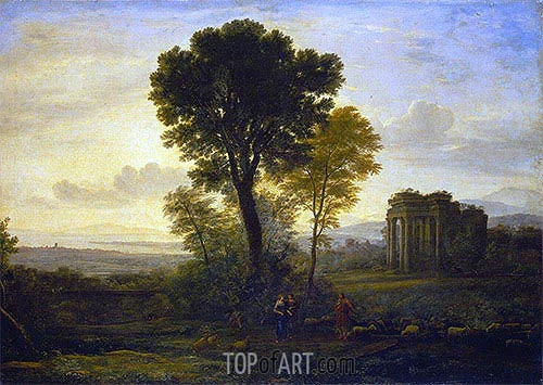 Landscape with Jacob, Rachel and Leah at the Well, 1666 | Claude Lorrain | Gemälde Reproduktion