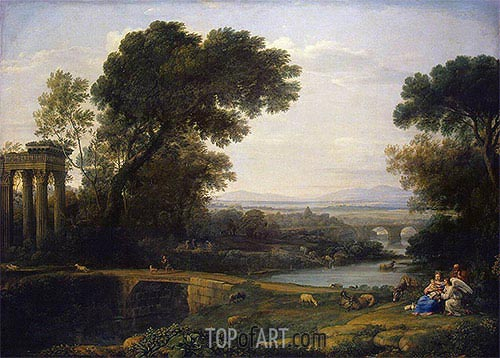 Landscape with the rest on the Flight into Egypt, 1661 | Claude Lorrain | Gemälde Reproduktion