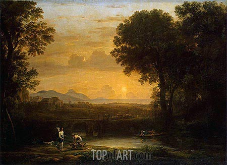Landscape with Tobias and the Angel, 1663 | Claude Lorrain | Painting Reproduction