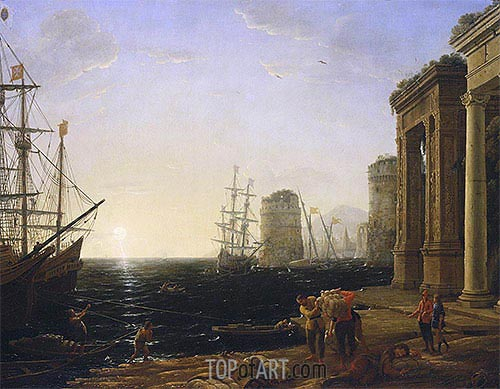 Harbour Scene at Sunset, 1643 | Claude Lorrain | Gemälde Reproduktion