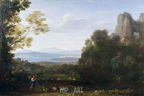 Landscape with Apollo and Mercury, 1660 | Claude Lorrain| Gemälde Reproduktion