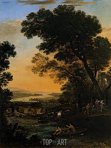 Pastoral Landscape with a Flight into Egypt, 1663 | Claude Lorrain | Painting Reproduction