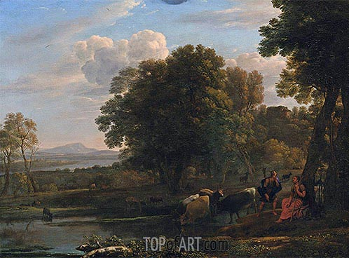 An Evening Landscape with Mercury and Battus, 1654 | Claude Lorrain| Painting Reproduction