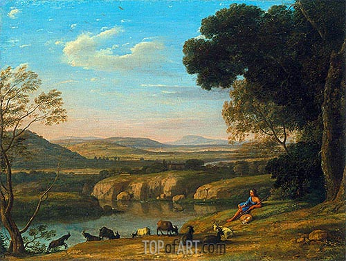 River Landscape with Goatherd, 1640 | Claude Lorrain | Painting Reproduction