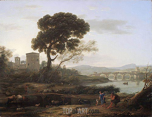 Landscape near Rome with a View of the Ponte Molle, 1645 | Claude Lorrain| Painting Reproduction