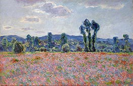 Poppy Field, c.1890 by Monet | Painting Reproduction