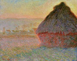 Haystack at Sunset, 1891 by Monet | Painting Reproduction