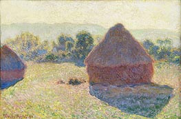 Haystacks in the Sunlight, Midday, 1890 by Monet | Painting Reproduction