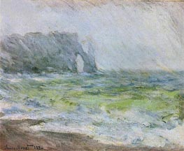 Etretat in the Rain, 1886 by Monet | Painting Reproduction