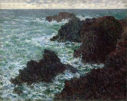 The Rocks at Belle-Ile, the Wild Coast, 1886 by Monet | Painting Reproduction