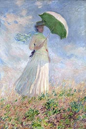 Woman with a Parasol Facing Right, 1886 by Monet | Painting Reproduction