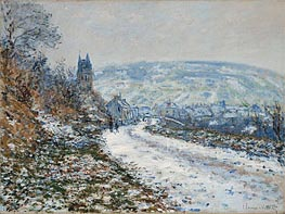 Entrance to the Village of Vetheuil in Winter, 1879 by Monet | Painting Reproduction