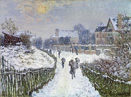 Boulevard Saint-Denis, Argenteuil, in Winter, 1875 by Monet | Painting Reproduction