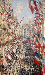 The Rue Montorgueil, Paris, Celebration of June 30, 1878 by Monet | Painting Reproduction