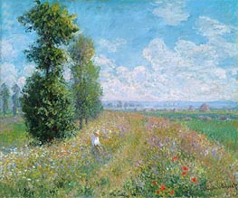 Meadow with Poplars (Poplars near Argenteuil), 1875 by Monet | Painting Reproduction