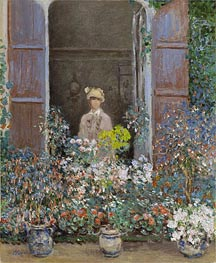 Camille Monet at the Window, Argenteuil, 1873 by Monet | Painting Reproduction