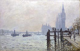 The Thames below Westminster, 1871 by Monet | Painting Reproduction