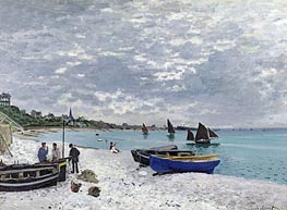 The Beach at Sainte Adresse, 1867 by Monet | Painting Reproduction