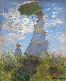 Woman with a Parasol - Madame Monet and Her Son, 1875 by Monet | Painting Reproduction