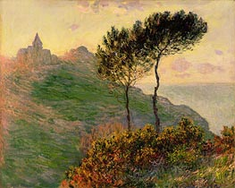 The Church at Varengeville, against the Sunset, 1882 by Monet | Painting Reproduction