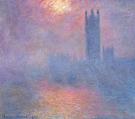 London, Parliament with the Sun Breaking Fog | Monet | Painting Reproduction