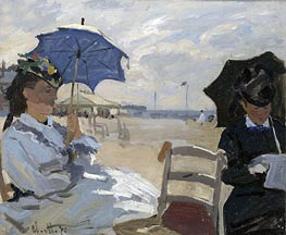 The Beach at Trouville, 1870 von Monet | Gemälde-Reproduktion