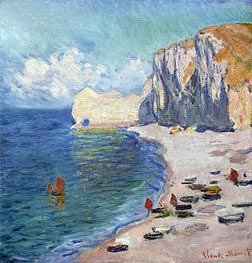 Etretat: The Beach and the Falaise d'Amont | Monet | Painting Reproduction
