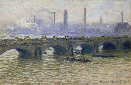 Waterloo Bridge - Overcast Skies | Monet | Gemälde Reproduktion