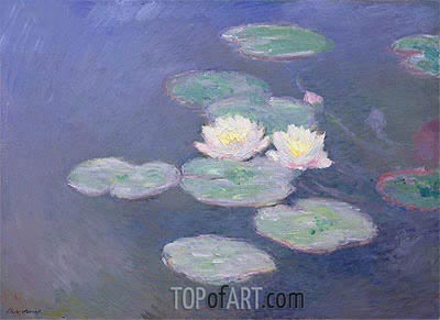 Water Lilies, Evening Effect, c.1897/98 | Monet | Gemälde Reproduktion