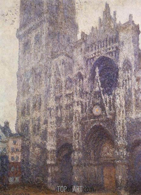 Rouen Cathedral, Tour d'Albane, Grey Weather, 1894 | Monet| Painting Reproduction