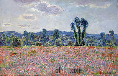 Poppy Field, c.1890 | Monet | Gemälde Reproduktion