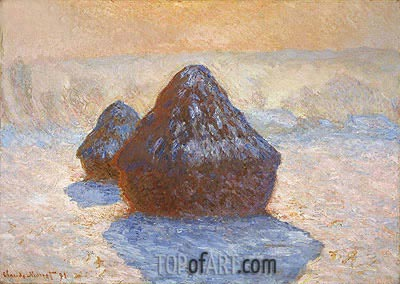 Haystacks, White Frost Effect, 1891 | Monet| Gemälde Reproduktion