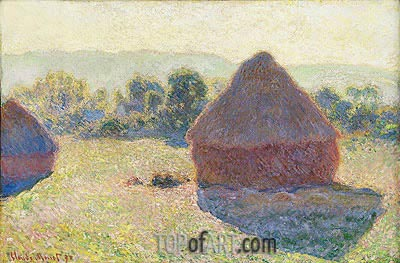 Haystacks in the Sunlight, Midday, 1890 | Monet | Painting Reproduction