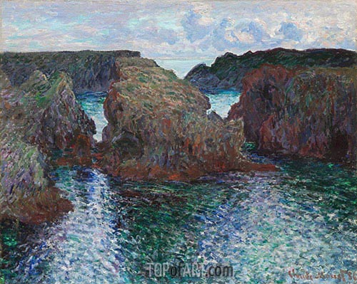 Rocks at Port-Goulphar, Belle-Ile, 1886 | Monet | Painting Reproduction