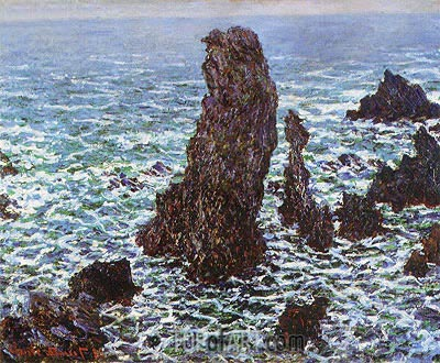 The 'Pyramids' of Port Coton, Belle Ile en Mer, 1886 | Monet | Gemälde Reproduktion