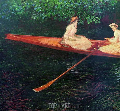 Boating on the River Epte, 1890 | Monet | Gemälde Reproduktion