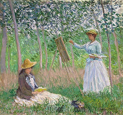 In the Woods at Giverny (Blanche Hoschede at Her Easel with Suzanne Hoschede Reading), 1887 | Monet | Painting Reproduction
