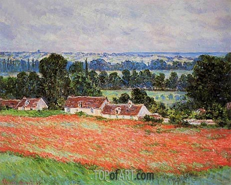 Poppy Field at Giverny, 1885 | Monet| Gemälde Reproduktion