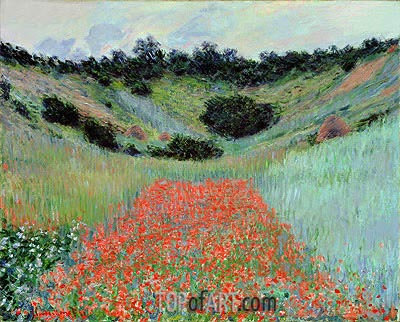 Poppy Field in a Hollow near Giverny, 1885 | Monet | Painting Reproduction