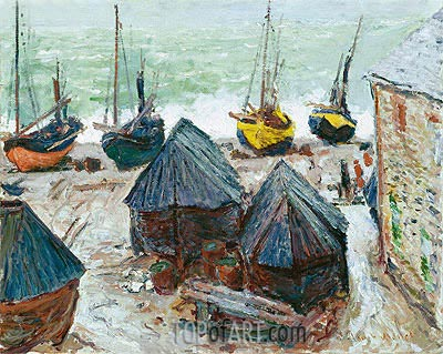 Boats on the Beach at Etretat, 1885 | Monet | Painting Reproduction