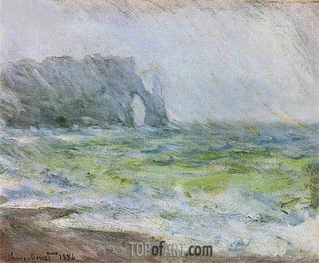 Etretat in the Rain, 1886 | Monet| Gemälde Reproduktion