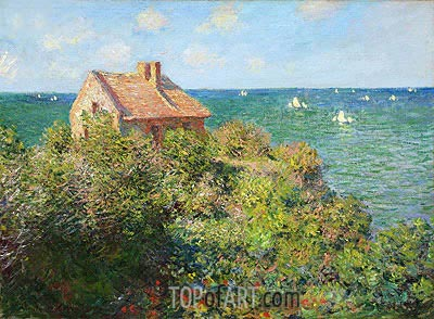 Fisherman's Cottage on the Cliffs at Varengeville, 1882 | Monet | Gemälde Reproduktion