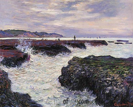 The Rocks at Pourville, Low Tide, 1882 | Monet| Painting Reproduction