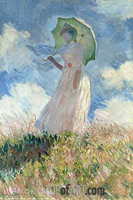 Woman with a Parasol Facing Left, 1886 | Monet| Painting Reproduction