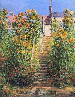 The Steps at Vetheuil, 1881 | Monet | Gemälde Reproduktion