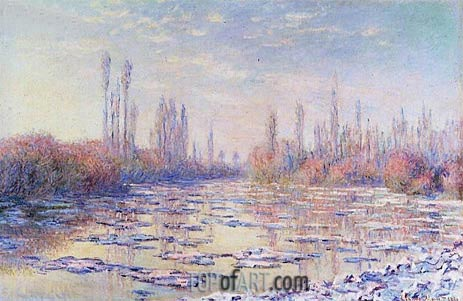 The Floating Ice, 1880 | Monet | Gemälde Reproduktion